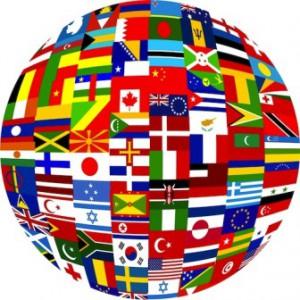 Глобус с флагами скаковых стран